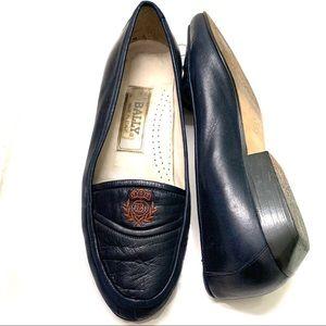 Bally Leather Navy Blue Shoe Monogram Size 6 Italy